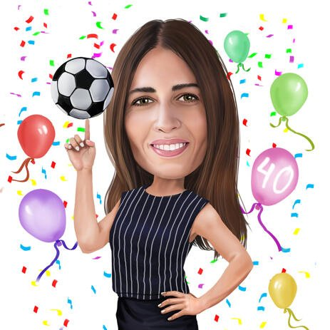 Happy Birthday Caricatures for Woman Football Soccer Player from Photos - example