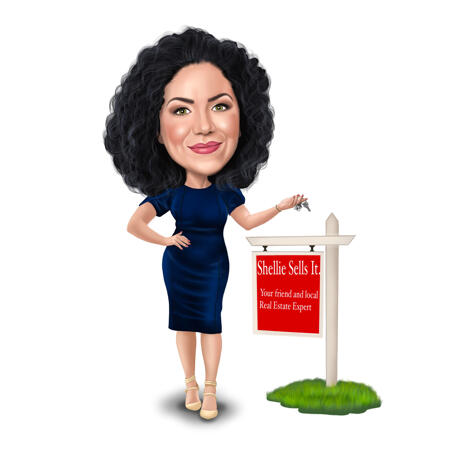 Real Estate Expert Full Body Caricature in colored Style from Photo - example