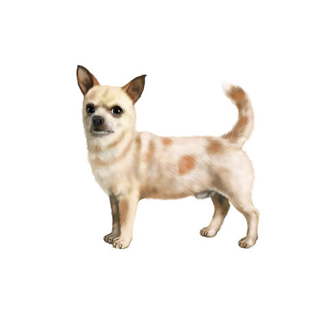 Full Body Chihuahua Caricature Portrait in Colored Style from Photos - example