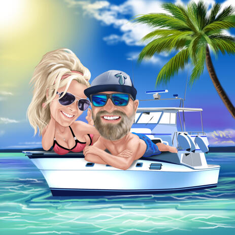 Marine Custom Couple Vacation Caricature Drawing with Sea Background in Colored Style - example
