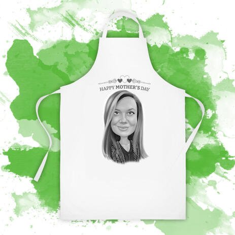 Print on Apron: Custom Caricature Drawing in Mother's Day Theme - example