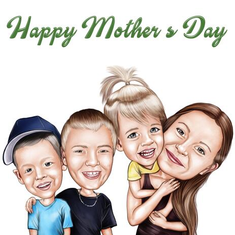 Mother with Children Family Caricature for Mother's Day Gift - example