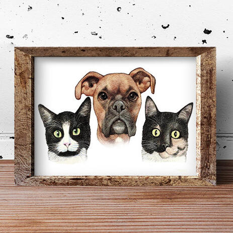 Pets Caricature Printed on Poster - example