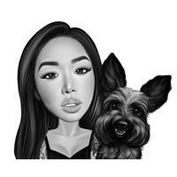 Besitzer mit Hundekarikatur im Schwarz-Weiß-Stil aus Fotos