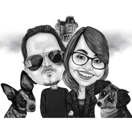 High Exaggerated Black and White Style Couple with Pets Halloween Caricature - example