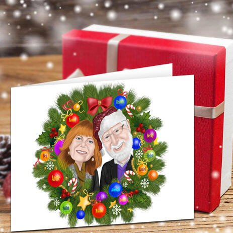 Couple in Wreath Colored Caricature Set of 10 Greeting Christmas Cards - example