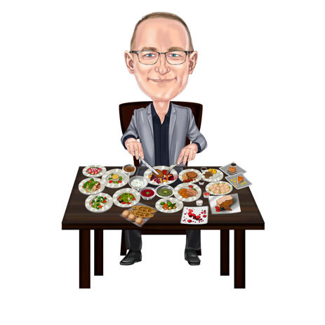 Person with Dinner Plates Cartoon Portrait Gift Caricature for Traditional Food Lover - example