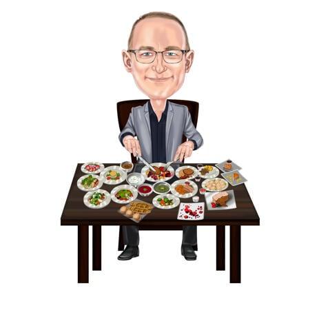 Person med middagstallrikar Tecknad porträttgåva karikatyr för traditionell matälskare - example