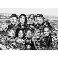 Карикатура группы супергероев в черно-белом на фоне города