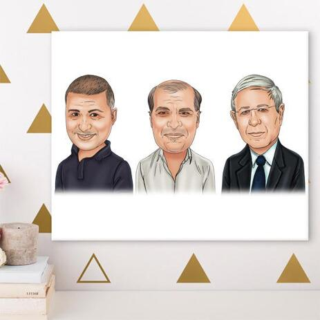 Corporate Group Caricature on Canvas - example