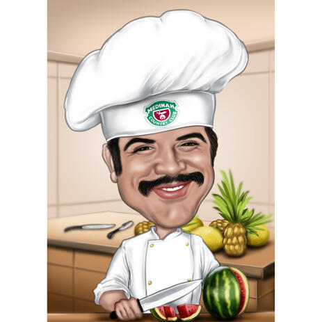 Funny Chef Caricature from Photos for Cooking Lovers - example