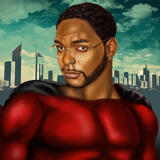 Superhero Caricature Drawing from Photo in Colored Digital Style
