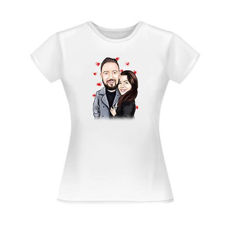 Custom Couple in Love Caricature from Photos Gift on T-Shirt - example