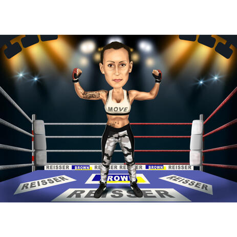 Female Boxing Caricature in Colored Style with Battleground from Photos - example