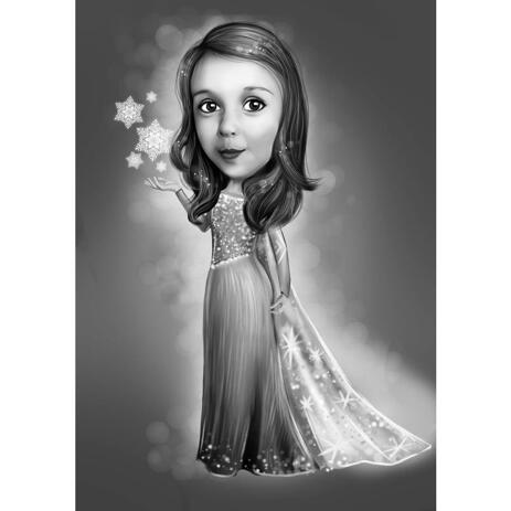 Kid Cartoon Drawing in Monochrome Style for Frozen Fans Gift - example