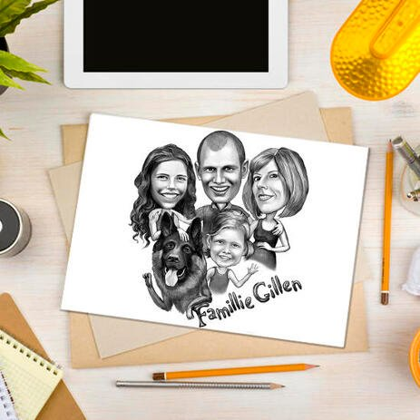 Poster Print: Family with Pet Caricature in Black and White Style - example