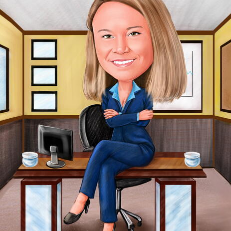 Business Caricature from Photo Featuring Work Space - example