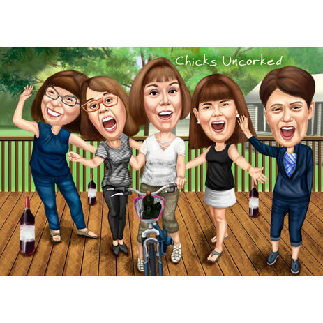 Funny Colored Style Gift Caricature for Colleague with Custom Background for Birthday Celebration Day - example