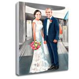 Hand-Drawn Bride and Groom Portrait Printed on Canvas