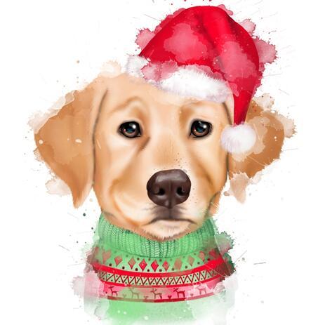 Рождественский портрет собаки в акварельном стиле нарисованный с фотографии - example