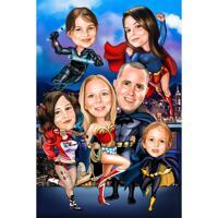 Superhjälteföräldrar med barnfärgad digital karikatyr med stadsbakgrund