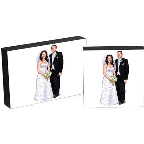 Custom Wedding Gift - Caricature Printed on Photo Block - example