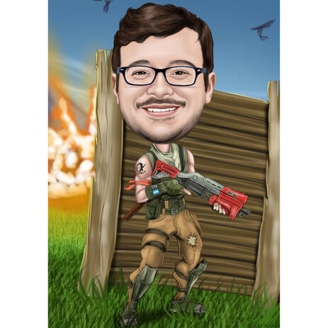 Holding Gun Full Body Caricature for Custom Gift - example