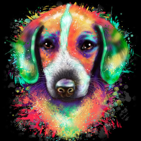 Rainbow Dog Portrait on Black Background - example