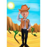 Cowboy i ørkenkarikatur fra foto i farvet stil