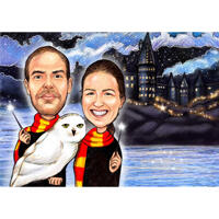 Couple with Owl Colored Caricature in Pencils Style for Harry Potter Fans Gift