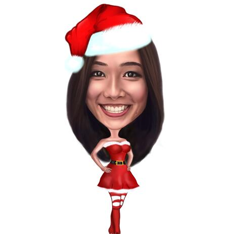 Full Body Christmas Caricature from Photos in Colored Style - example