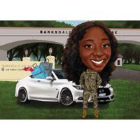 Kvinnlig militär pensionärspresentkarikatyr i färgstil med anpassad bakgrund