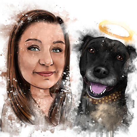 Memorial Portrait of Dog and Owner in Natural Watercolors - example