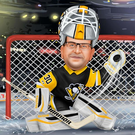 Hockey Goalkeeper Caricature from Photos for Hockey Fan - example