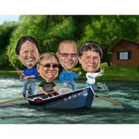 Fiskevänner karikatyr i färgstil med anpassad bakgrund