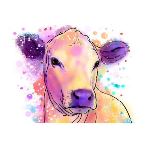 Cow Portrait from Photos in Pastel Watercolor Style - example