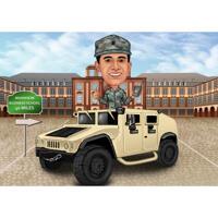 Militärische Person in Auto-Karikatur-Zeichnung mit benutzerdefiniertem Hintergrund vom Foto