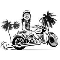 Henkilö, joka ajaa moottoripyöräkarikatyyriä kuvista, joissa on sarjakuvan tyyli