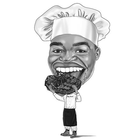 Funny Exaggerated Butcher with Big Steak Caricature in Black and White Style - example