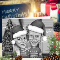 Couple Set of 10 Greeting Caricature Cards for Christmas in Black and White Style