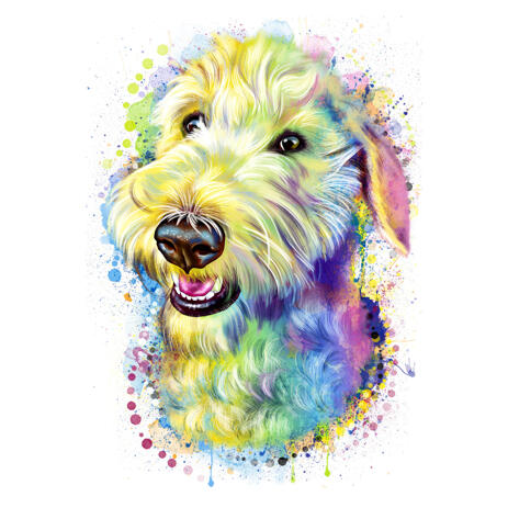 Watercolor Delicate Pastel Fox Terrier Caricature Portrait from Photos - example