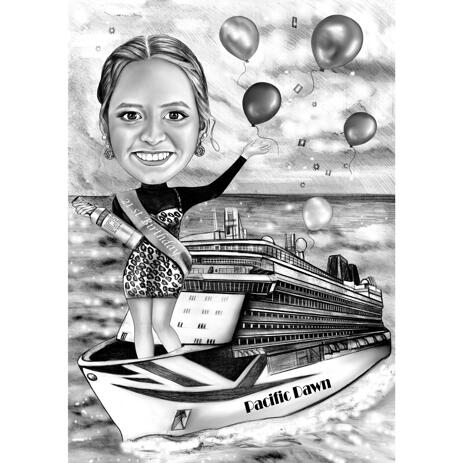 Happy Birthday Caricature for Sister in Black and White Style with Custom Background - example