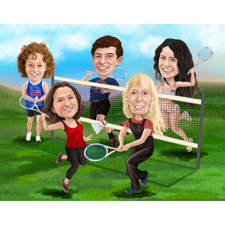 Custom Sport Group Caricature from Photos - example