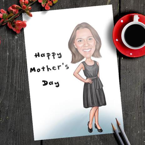 Ursprüngliche Zeichnung auf Papier: Kundenspezifische Frauen-Karikatur vom Foto mit farbigen Bleistiften - example