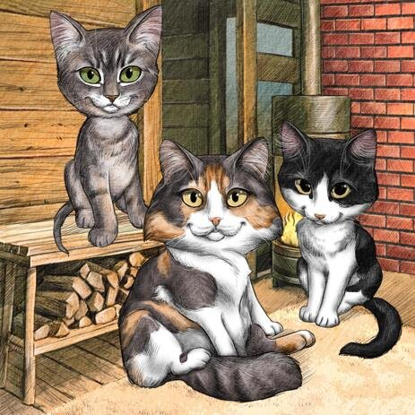 Cats Group Caricature from Photos with Background - example