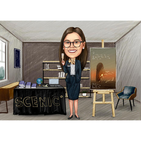 Custom Travel Professional Agent Caricature in Full Body Colored Style with Background - example
