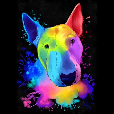 Watercolor Rainbow Bull Terrier Caricature Portrait on Black Background - example