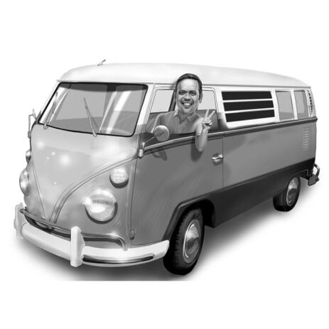Autobus Driver Caricature in Black and White Style from Photos - example