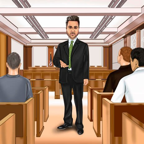 Full Body Person Lawyer Cartoon Gift - Custom Caricature Portrait from Photo - example