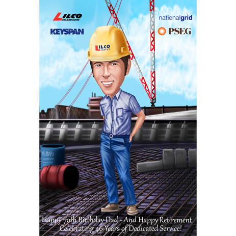 Engineer Worker Caricature Drawing with Custom Background in Color Style - example